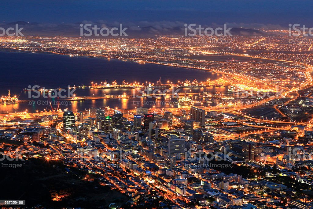 Cape Town city lights Lion's head night South Africa stock photo