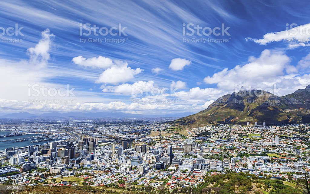 Cape Town city view stock photo