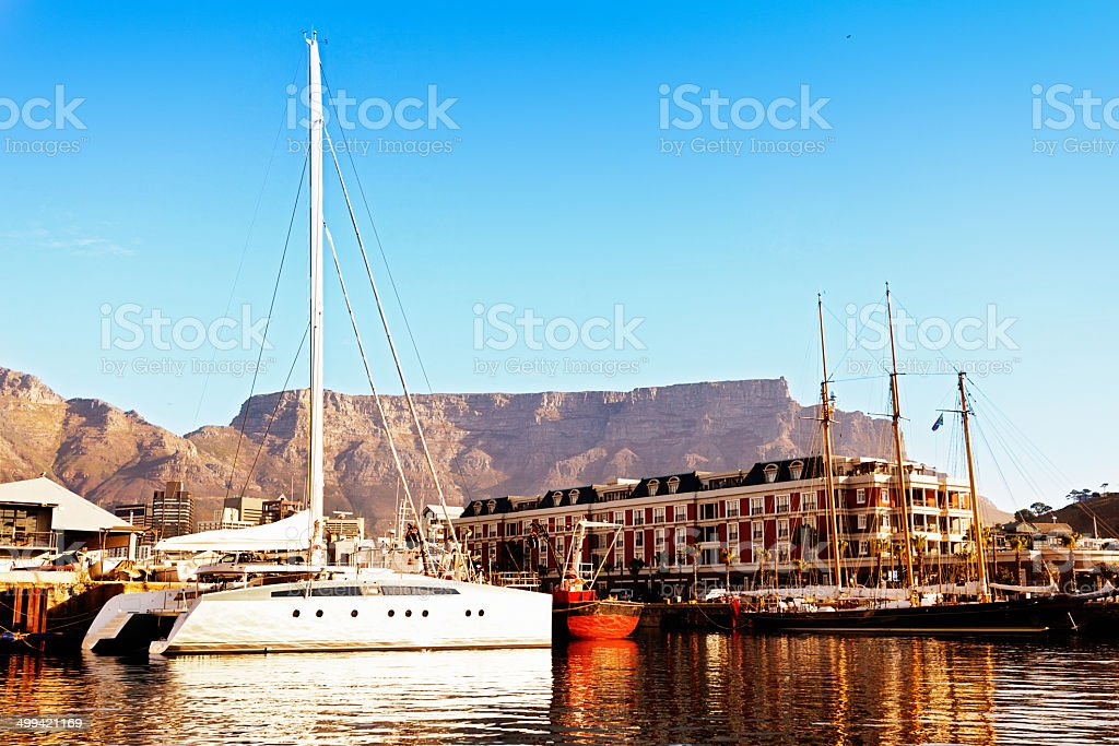Cape Town classic: Table Mountain, the waterfront and yacht basin stock photo