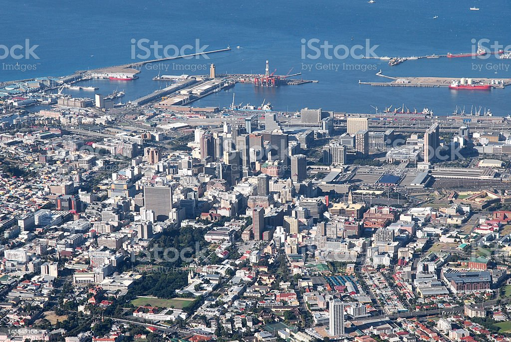 Cape Town from the Table mountain stock photo