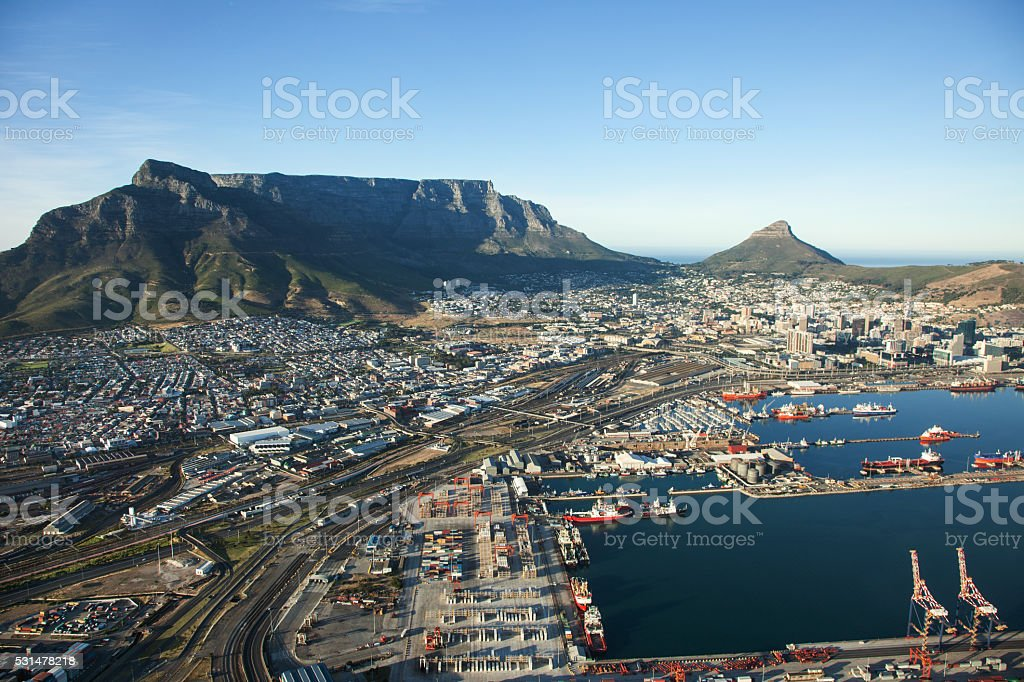 Cape Town Harbour and Table Mountain, South Africa stock photo