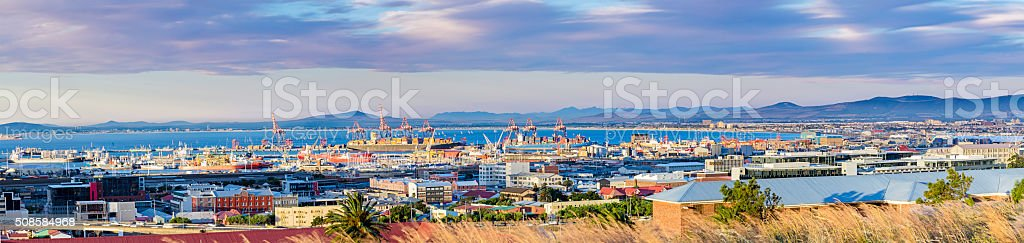 Cape Town harbour panorama at sunset stock photo
