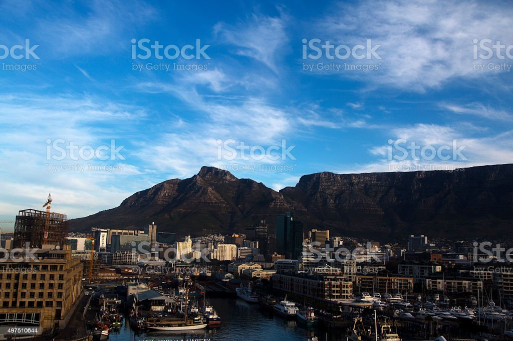 Cape Town harbour with the Table Mountain in the background stock photo