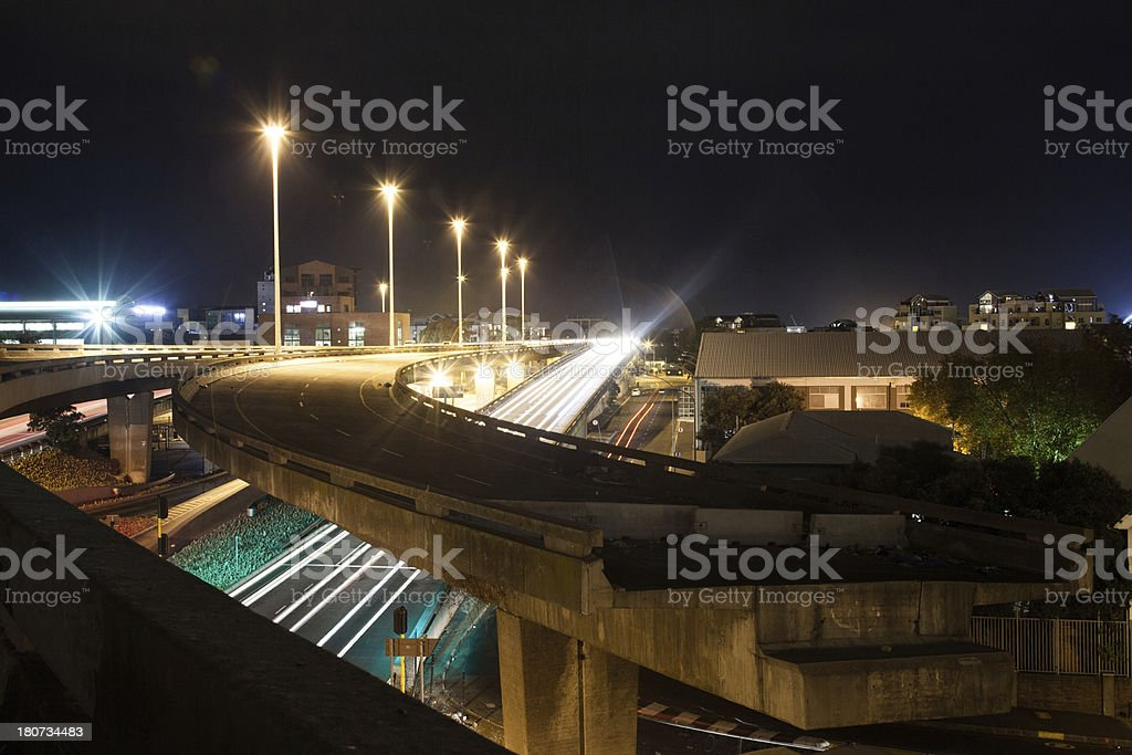 Cape Town Hihgway during night time, South Africa. royalty-free stock photo