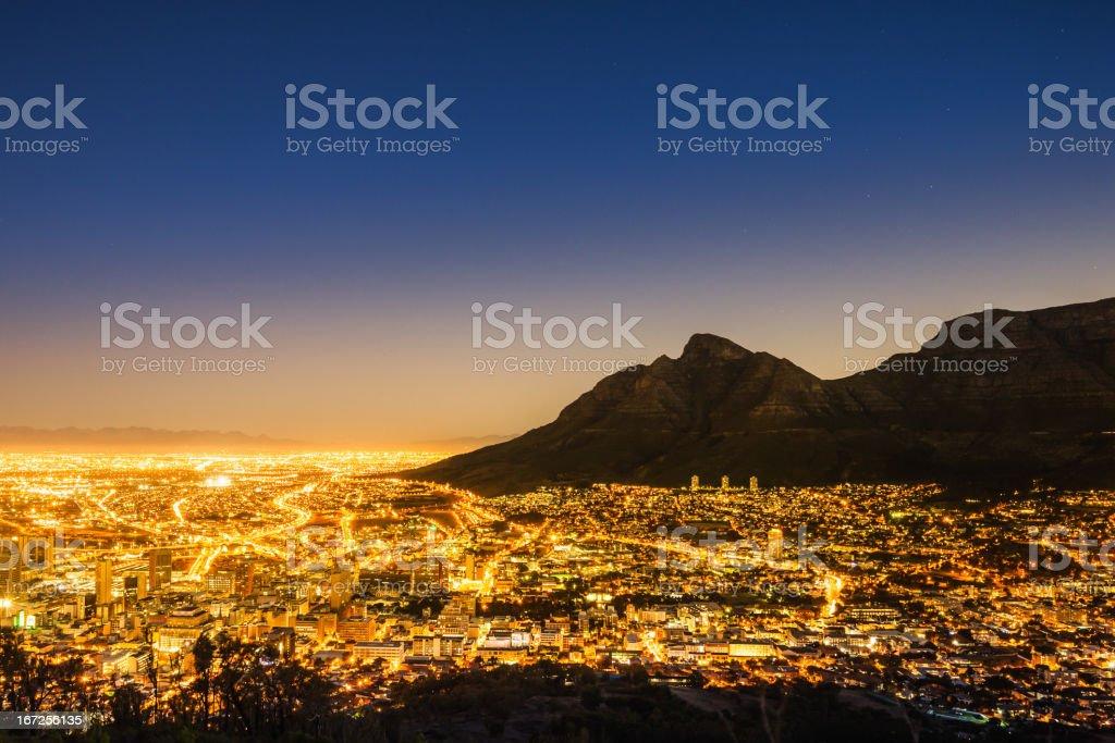 Cape Town Illuminated Night Scene South Africa stock photo