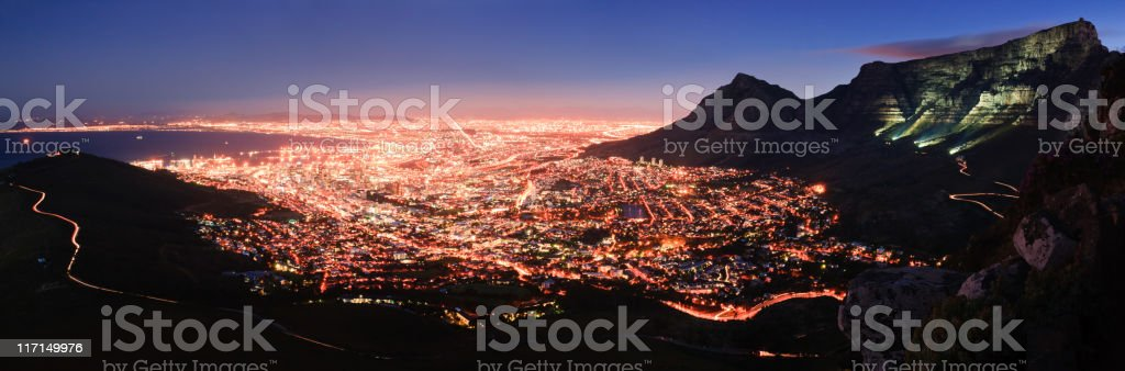 Cape Town Night Panorama royalty-free stock photo