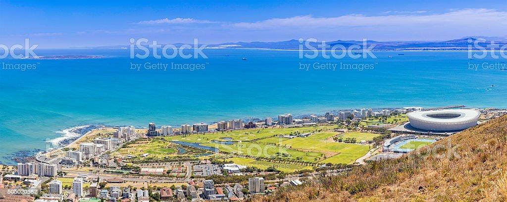 Cape Town panoramic of Robben Island and Stadium stock photo