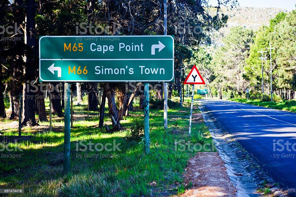Cape Town, road sign, Cape Point, Simon's Town, tourism, direction stock photo