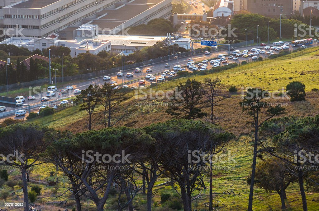 Cape Town, South Africa. Morning traffic flow stock photo