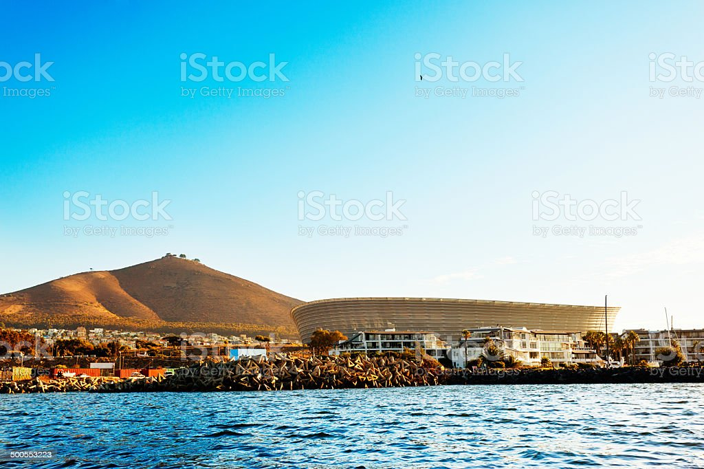 Cape Town Stadium, Signal Hill and seaside developments stock photo