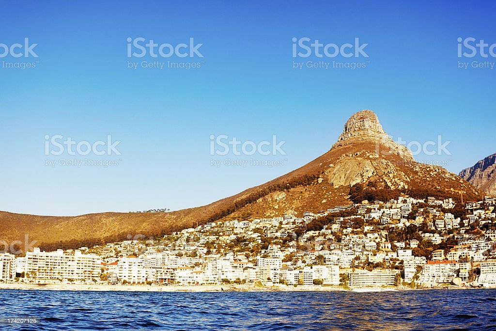 Cape Town suburbs and Signal Hill from the water royalty-free stock photo