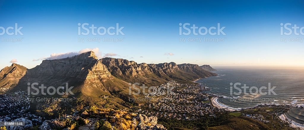 Cape Town Sunset Panorama stock photo