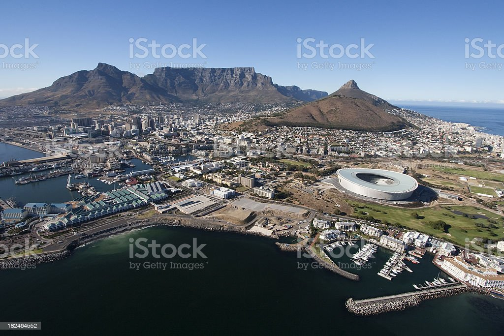 Cape Town Table Mountain Aerial royalty-free stock photo