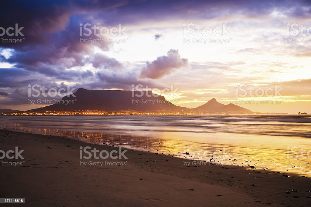 Cape Town Table Mountain Sunset Beach South Africa stock photo