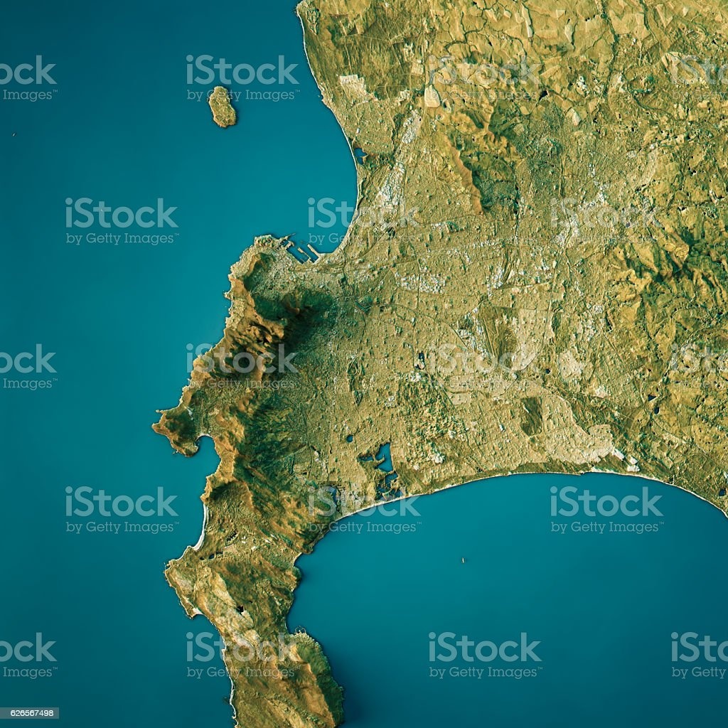 Cape Town Topographic Map Natural Color Top View vector art illustration