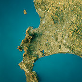 Cape Town Topographic Map Natural Color Top View
