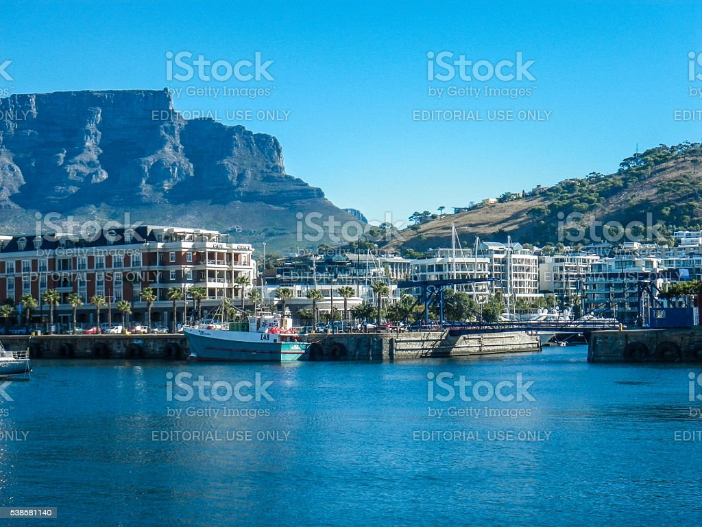 Cape Town Victoria Albert Waterfront and Table Mountain stock photo