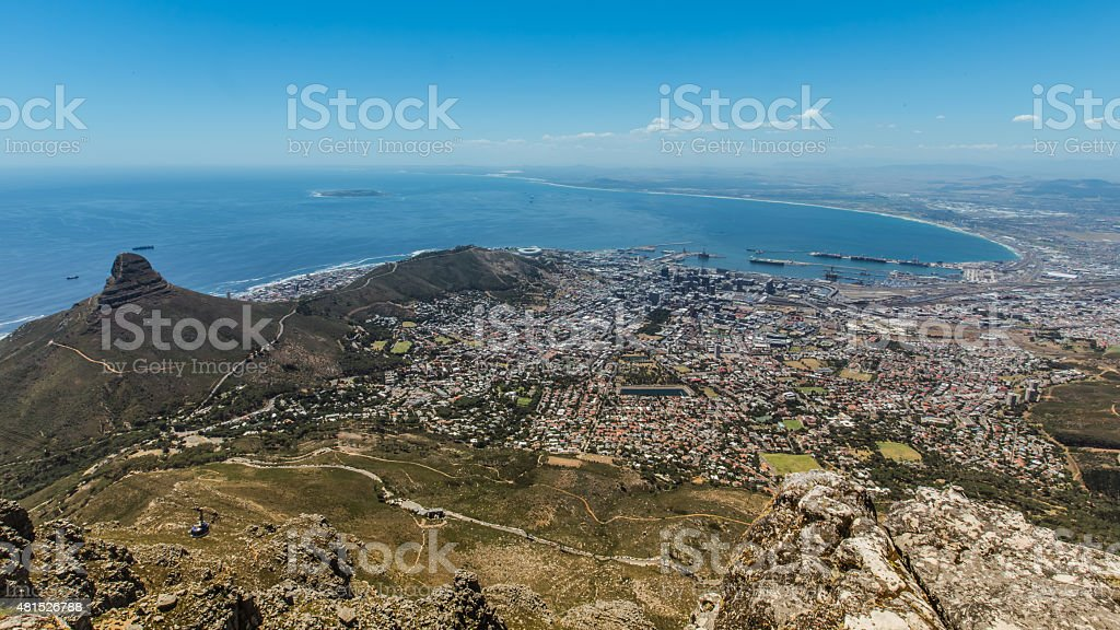 Cape Town view from Table Mountain stock photo