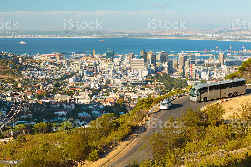 Cape Town view from the road on Table Mountain. stock photo