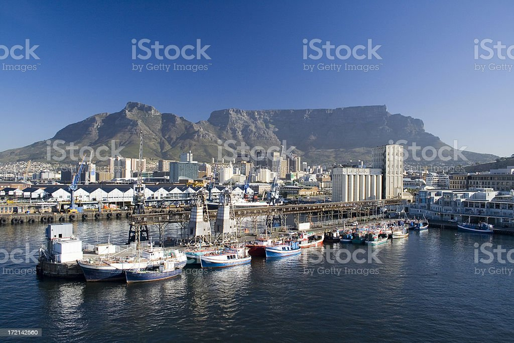 Cape Town waterfront and harbour with Table Mountain royalty-free stock photo