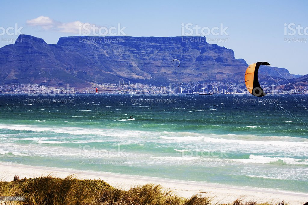 Cape Town with kite surfers royalty-free stock photo