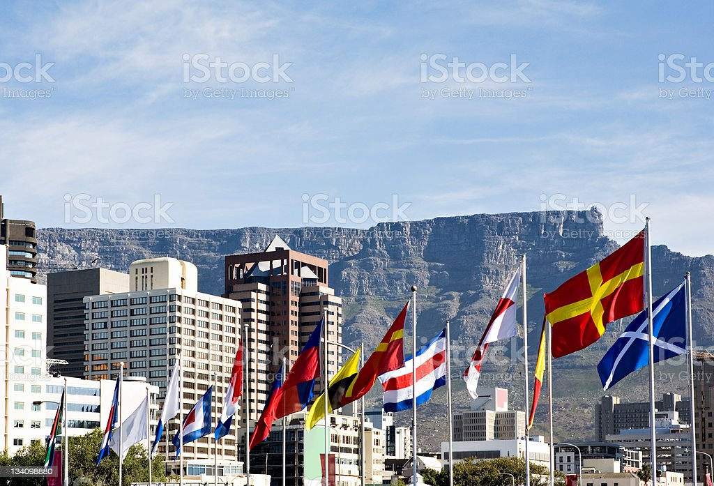 Cape Town with nautical flags stock photo