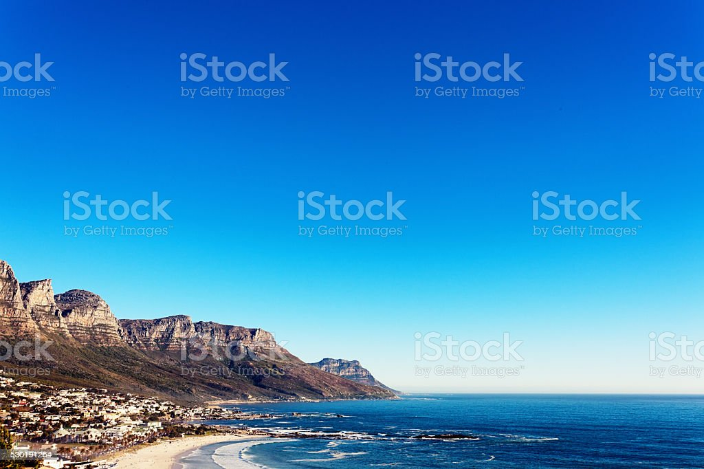 Cape Town's Atlantic seaboard and Twelve Apostles on summer's day stock photo