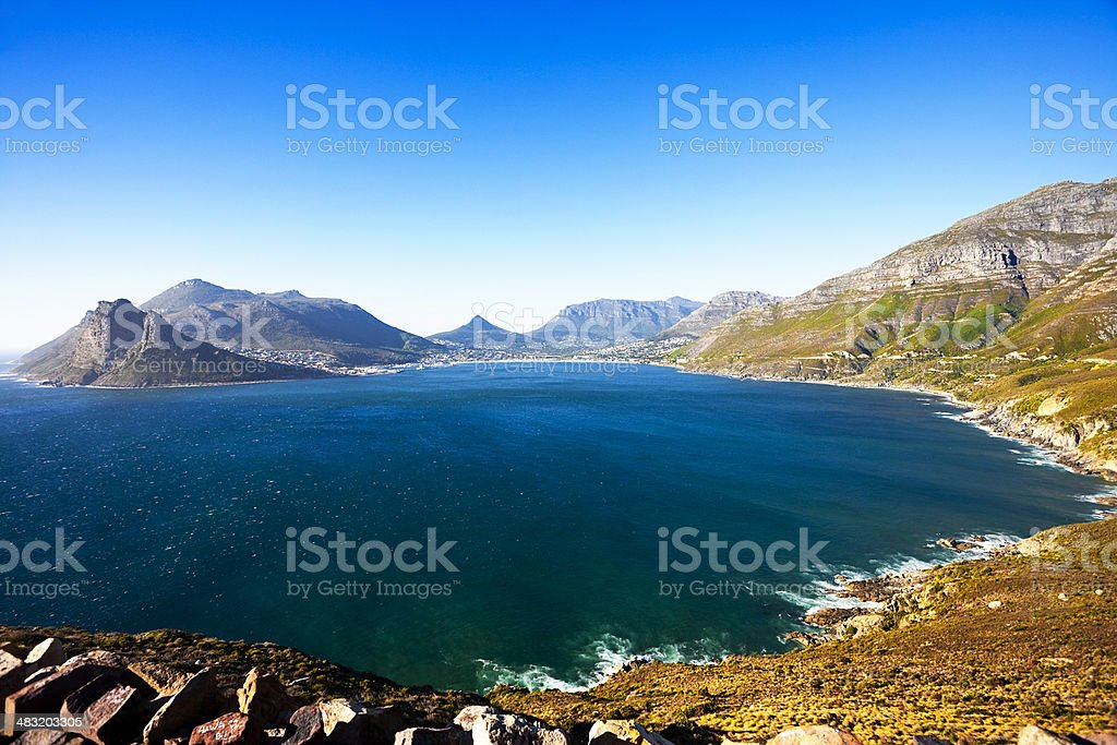 Cape Town's beautiful Hout Bay from Chapman's Peak stock photo