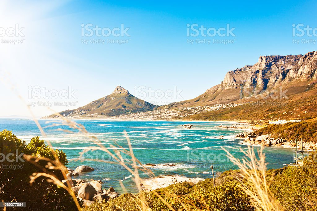 Cape Town's Lion's Head mountain seen from across the ocean stock photo