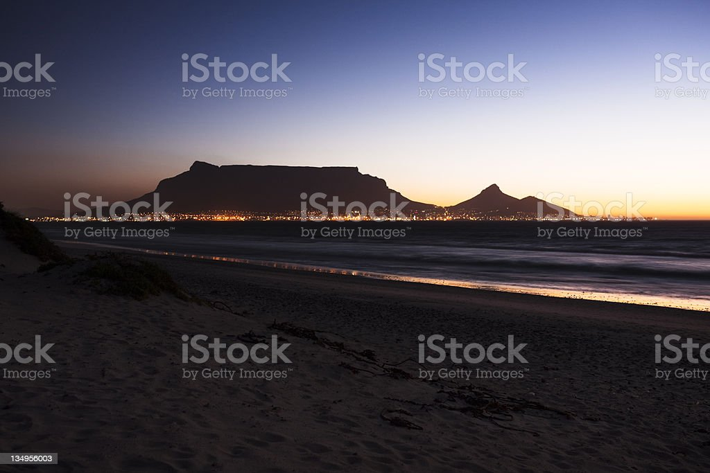 Cape Town's Table Mountain in early evening stock photo