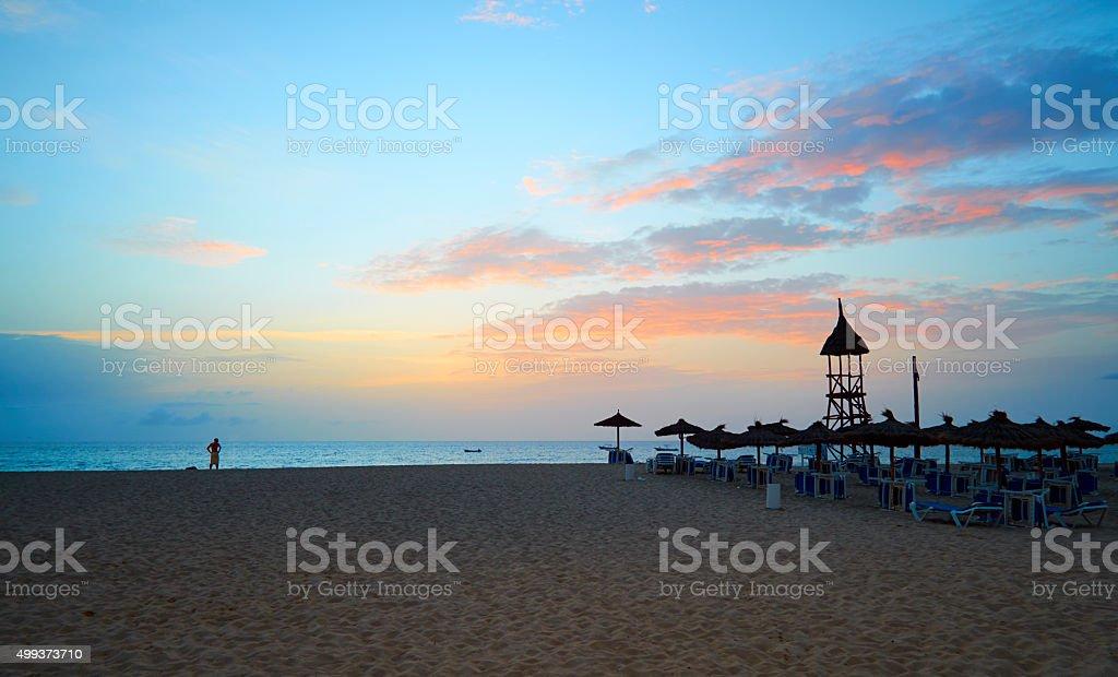 Cape Verde Beach Sunset Scenic stock photo
