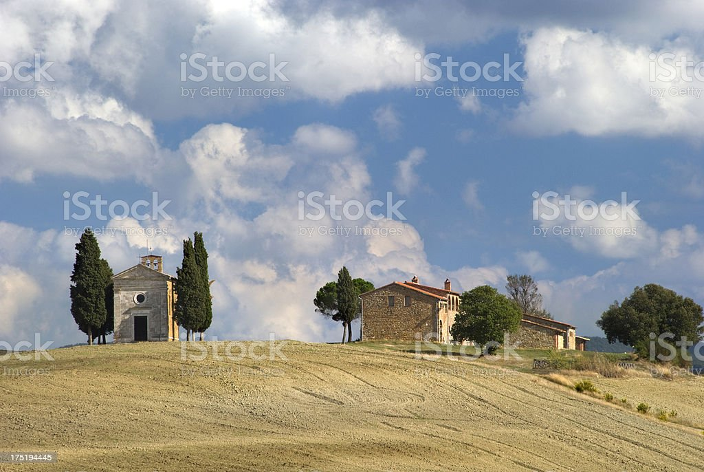 Capella di Vitaleta on a hill in Tuscany royalty-free stock photo