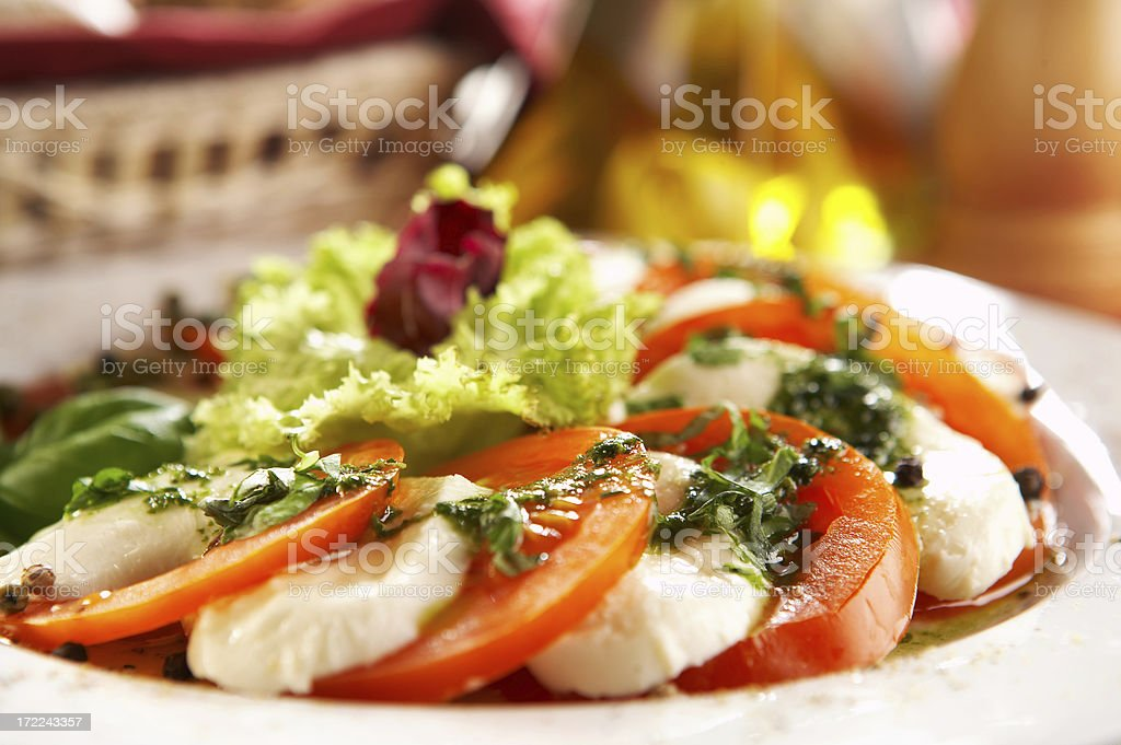 Capers cheese served with vegetables stock photo