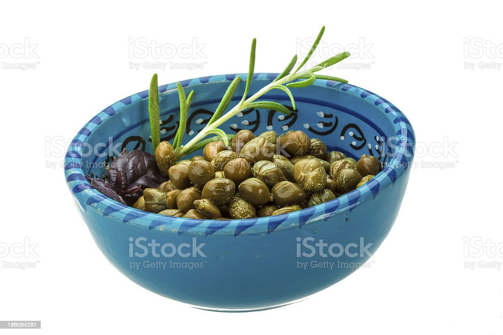Capers in the bowl royalty-free stock photo