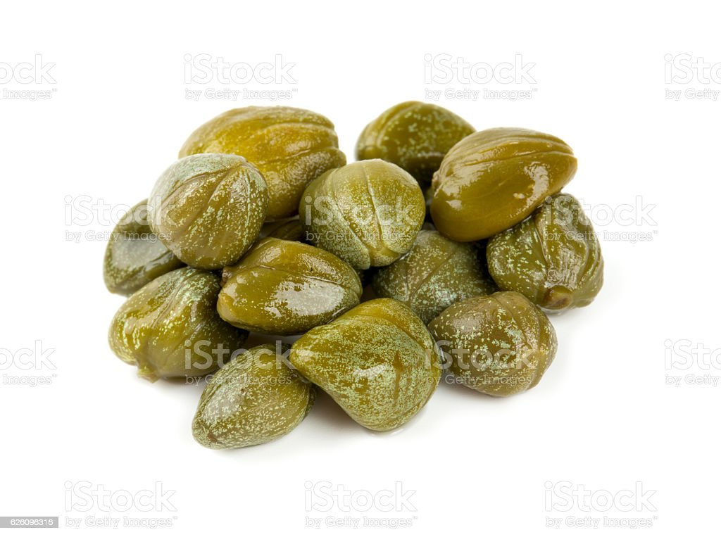 capers isolated on white stock photo
