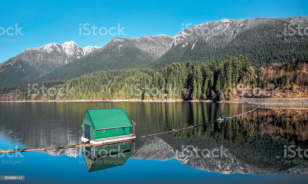 Capilano Reservoir Mountains Vancouver British Columbia stock photo