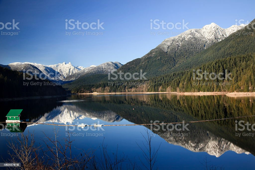 Capilano Reservoir Two Lions Mountains Vancouver British Columbia stock photo