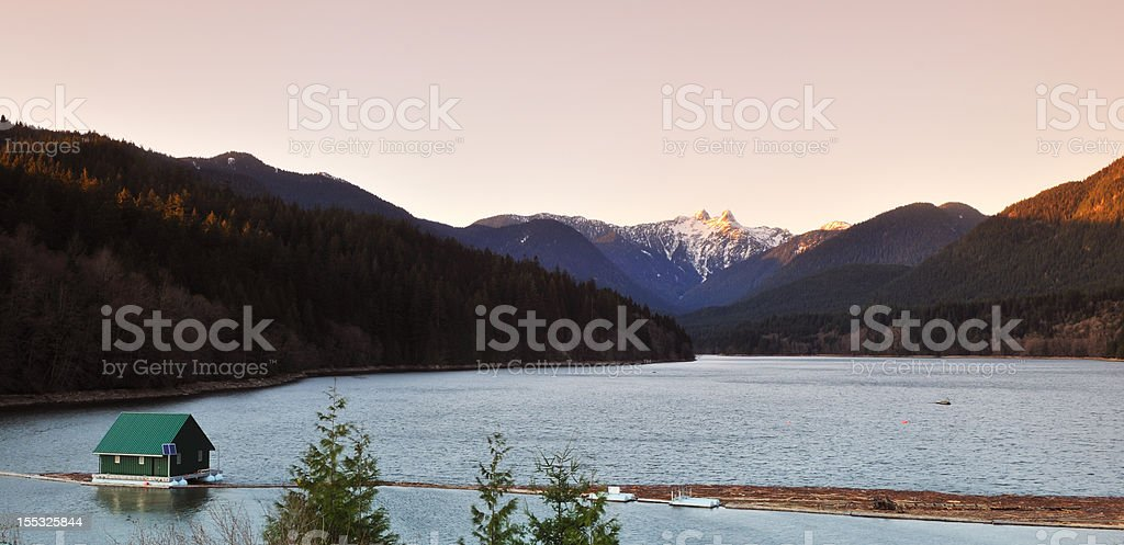 Capilano River and the lions mountain stock photo