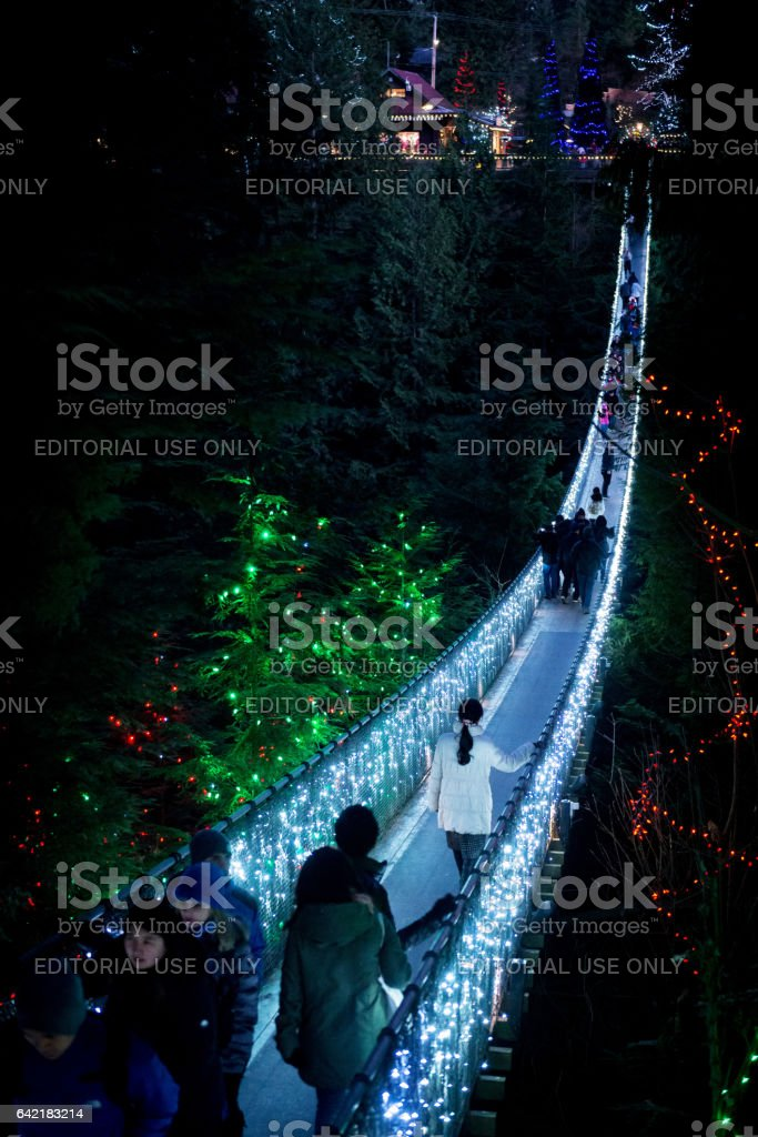 Capilano Suspension bridge lighted up at night stock photo