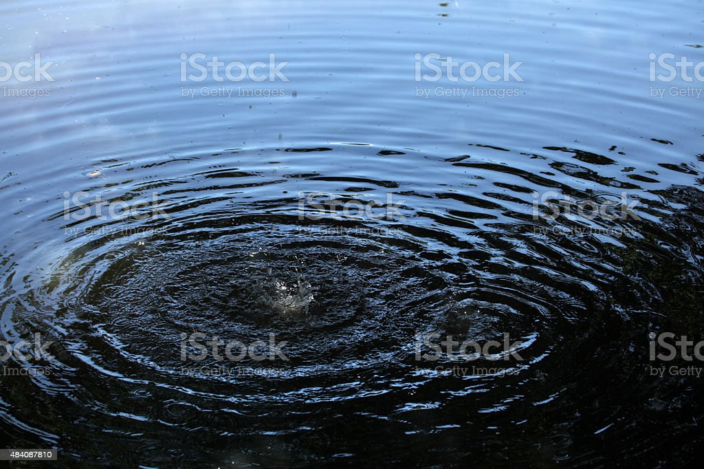 Capillary waves produced by two droplets in water. stock photo