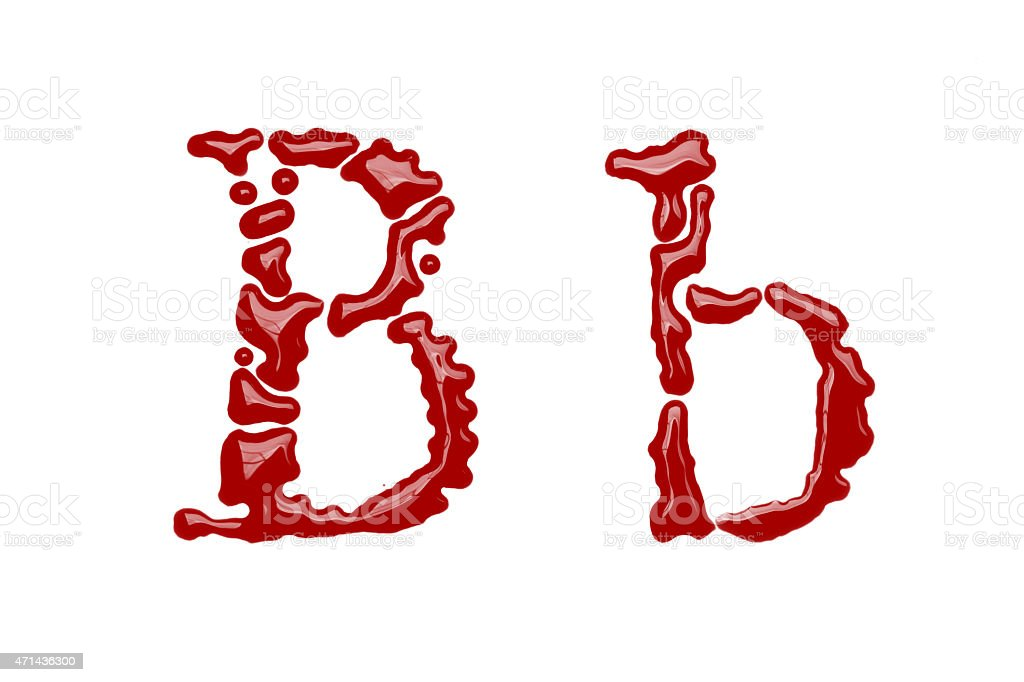 Capital and lowercase letter B made from blood stock photo