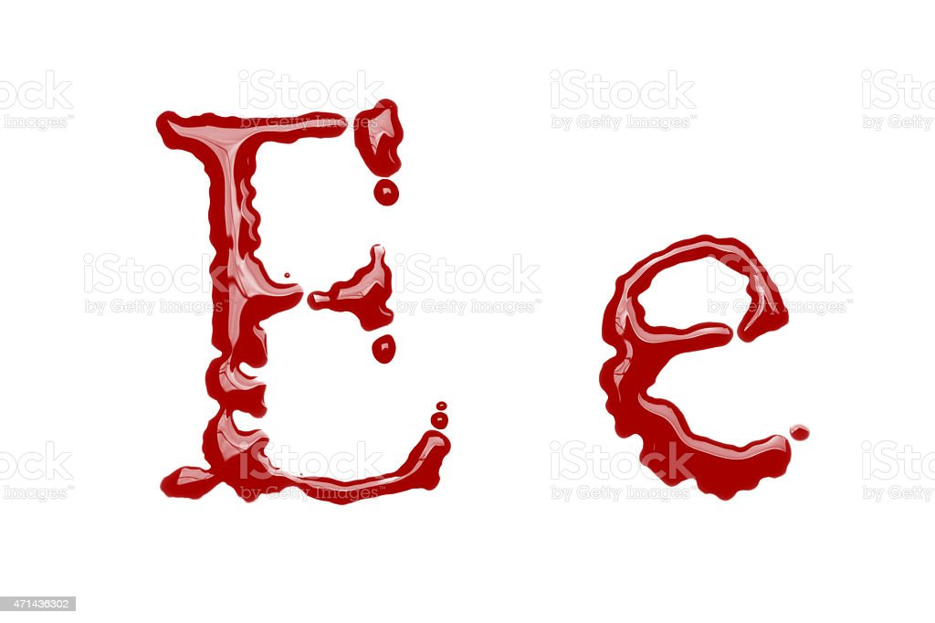 Capital and lowercase letter E made from blood stock photo