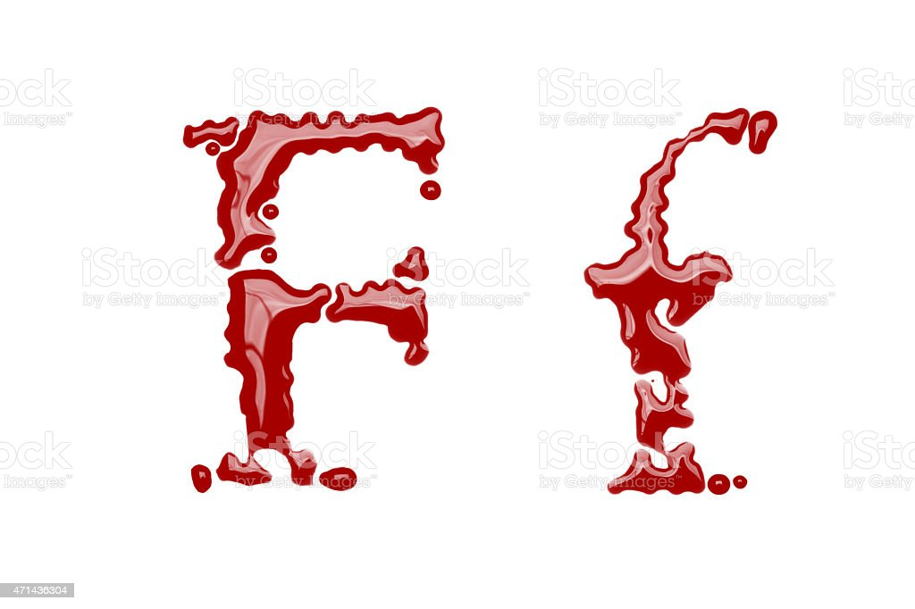 Capital and lowercase letter F made from blood stock photo