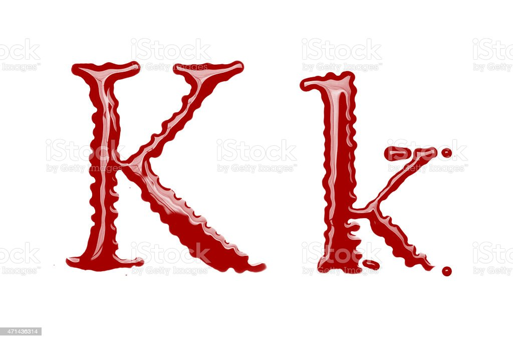 Capital and lowercase letter K made from blood stock photo