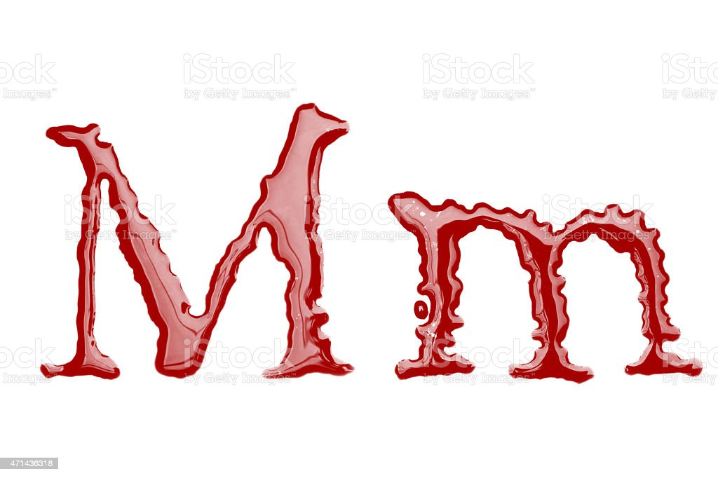 Capital and lowercase letter M made from blood stock photo