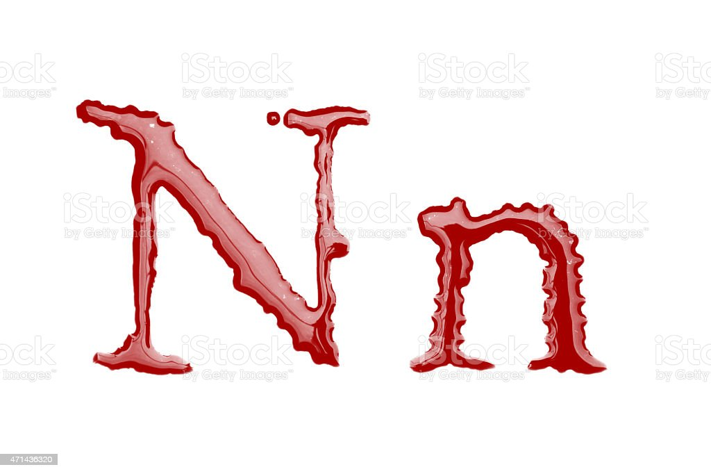 Capital and lowercase letter N made from blood stock photo