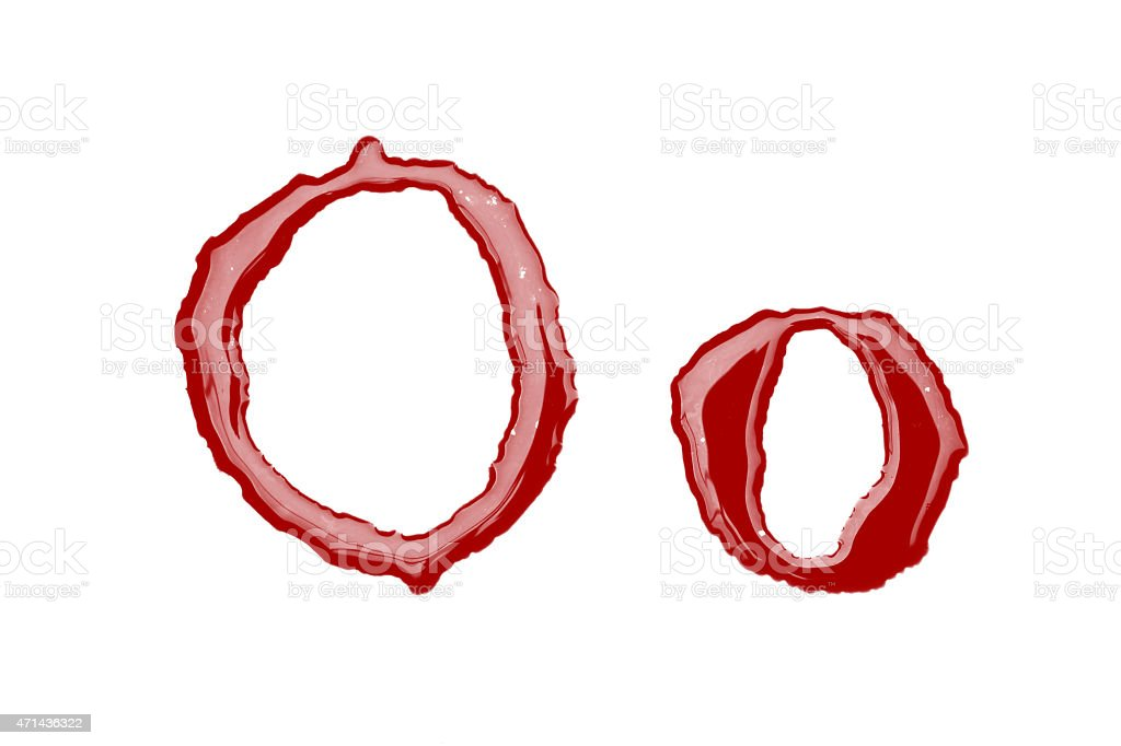 Capital and lowercase letter O made from blood stock photo