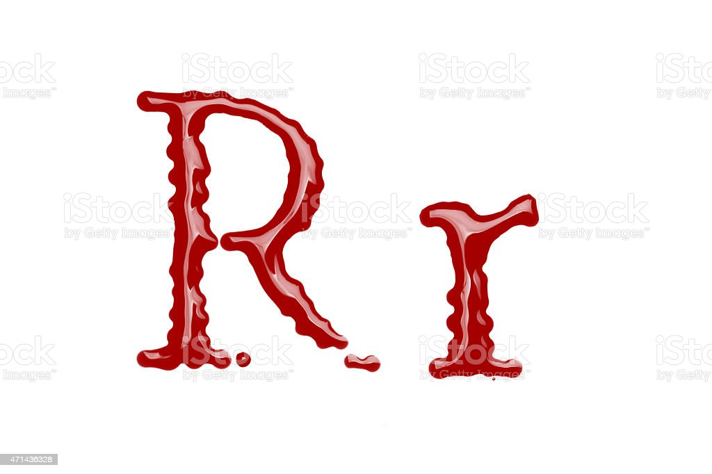 Capital and lowercase letter R made from blood stock photo