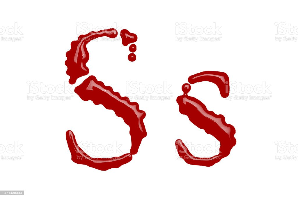 Capital and lowercase letter S made from blood stock photo