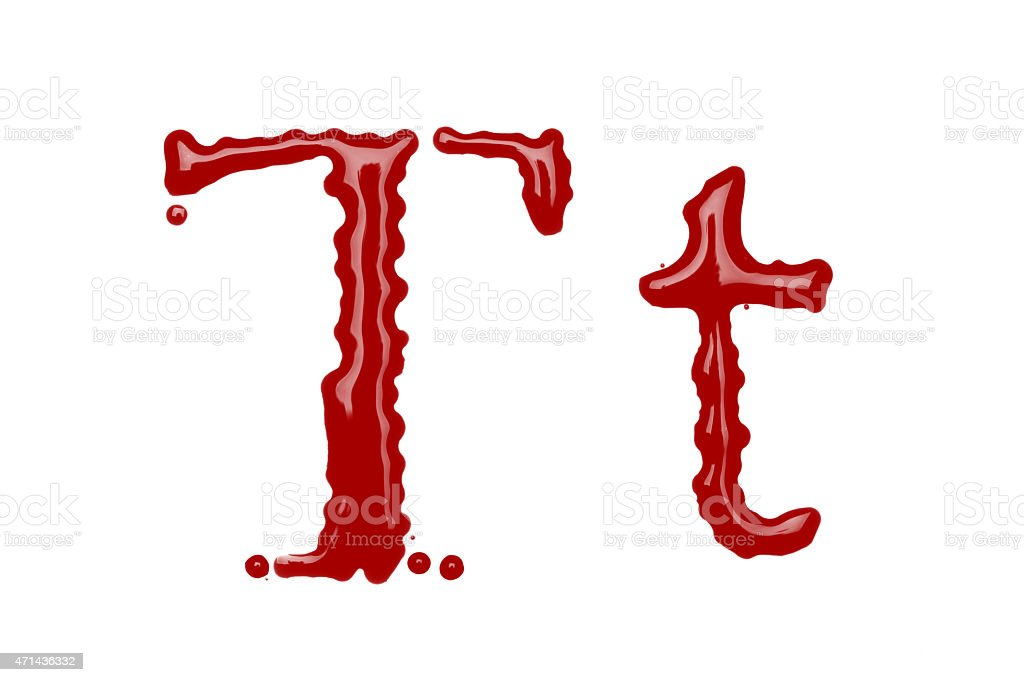 Capital and lowercase letter T made from blood stock photo